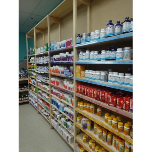 wooden shelves in store