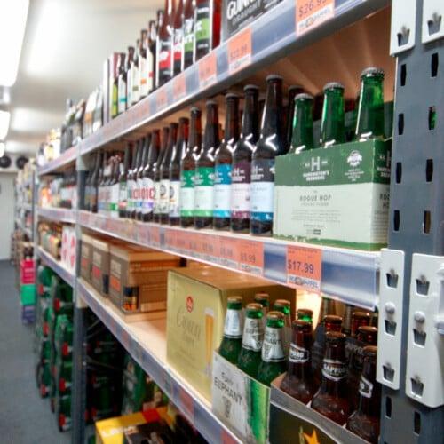 liquor shelves in store