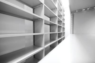 Grey empty shelf